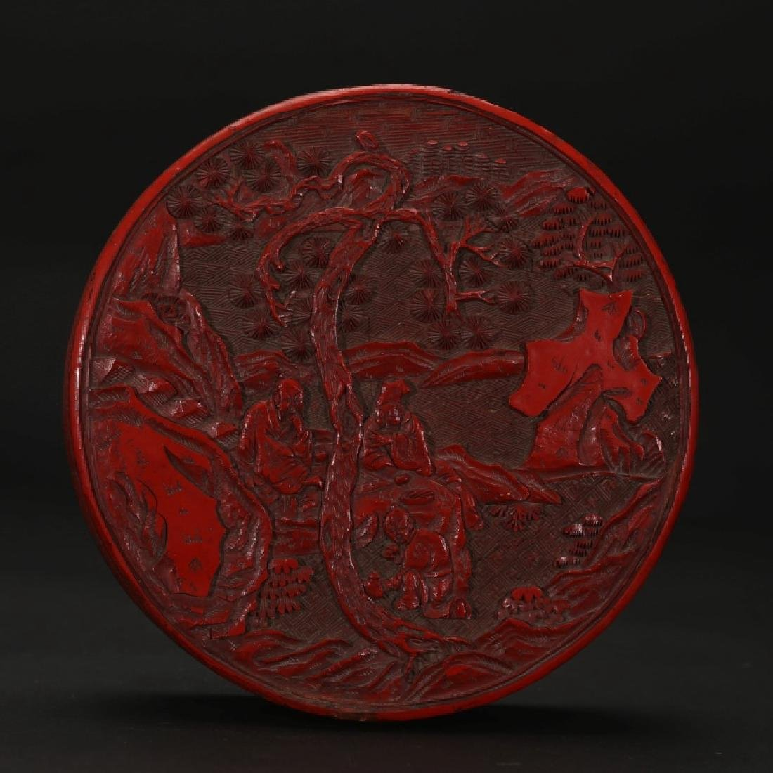 Chinese Late Qing Cinnabar Lacquer Round Box
