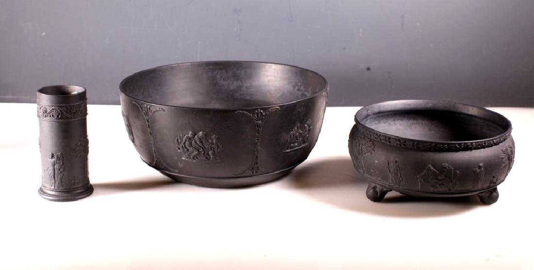 Three Old Wedgwood Black Basalt Containers