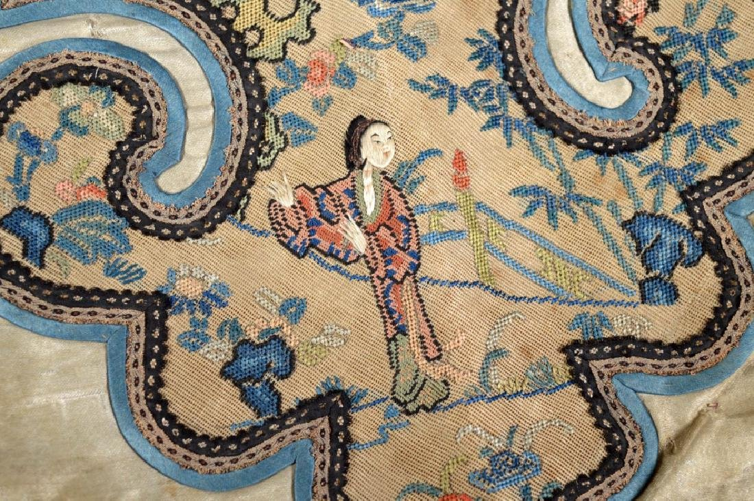 Chinese 18/19 C Silk Embroidered Cloud Collar - 5