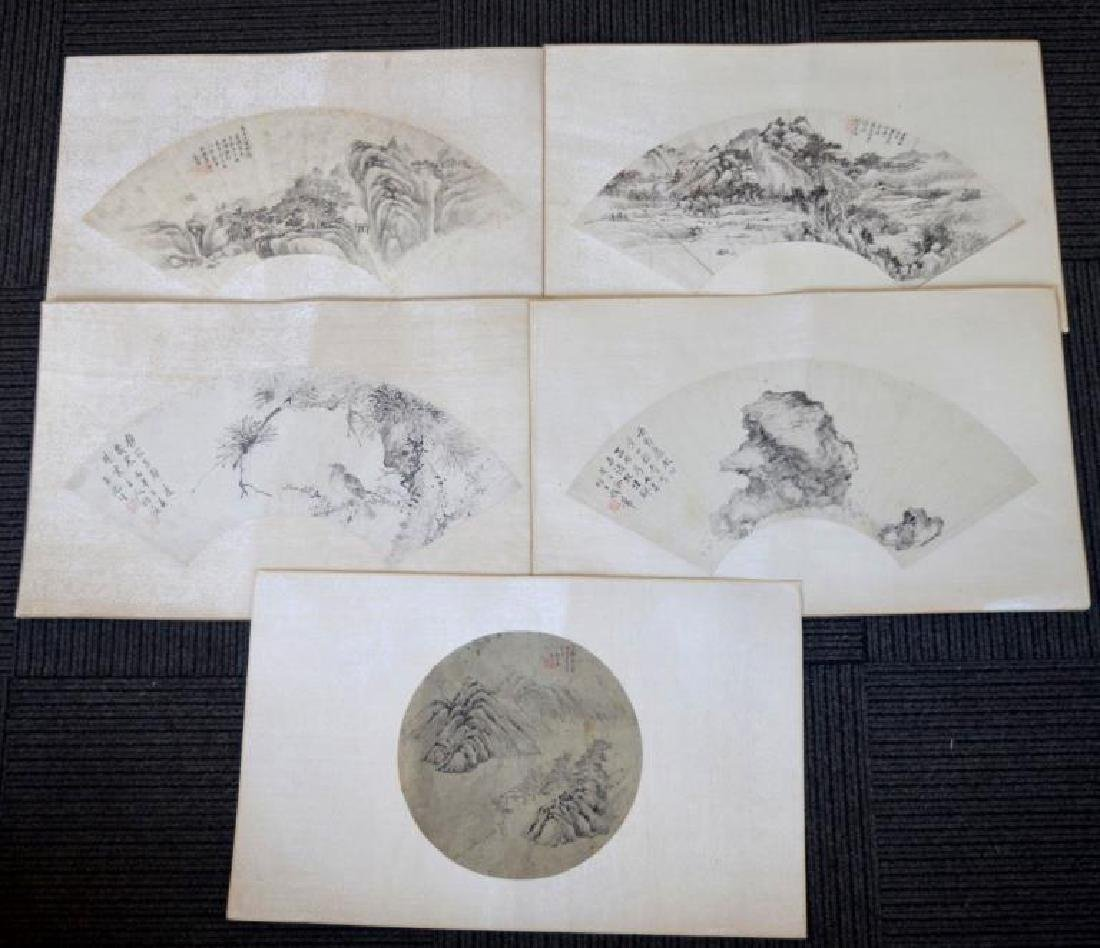 5 Chinese Ink Fan Paintings Mounted to Album Pages