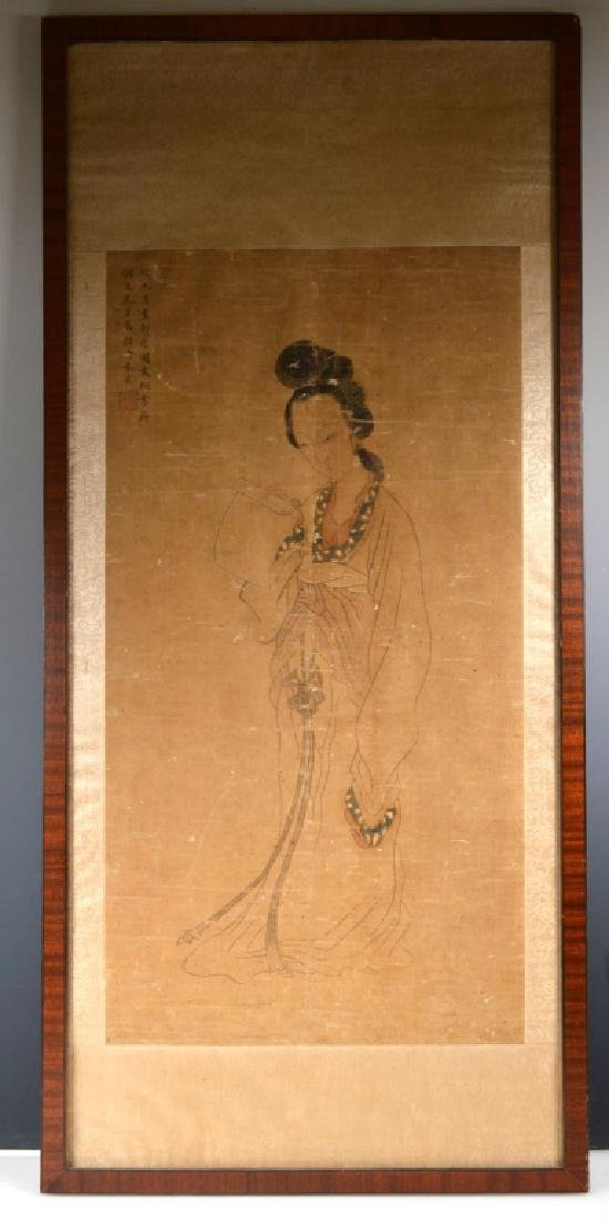 Antique Chinese Painting of Beauty on Silk