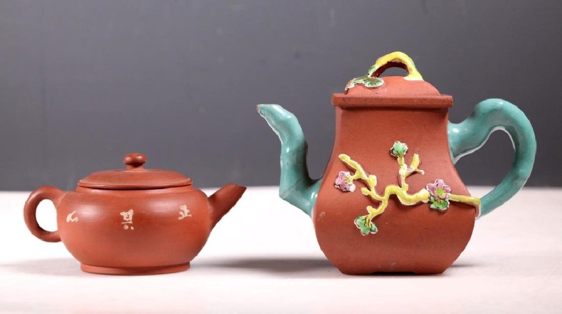 Two Chinese Enamel Decorated Yixing Teapots