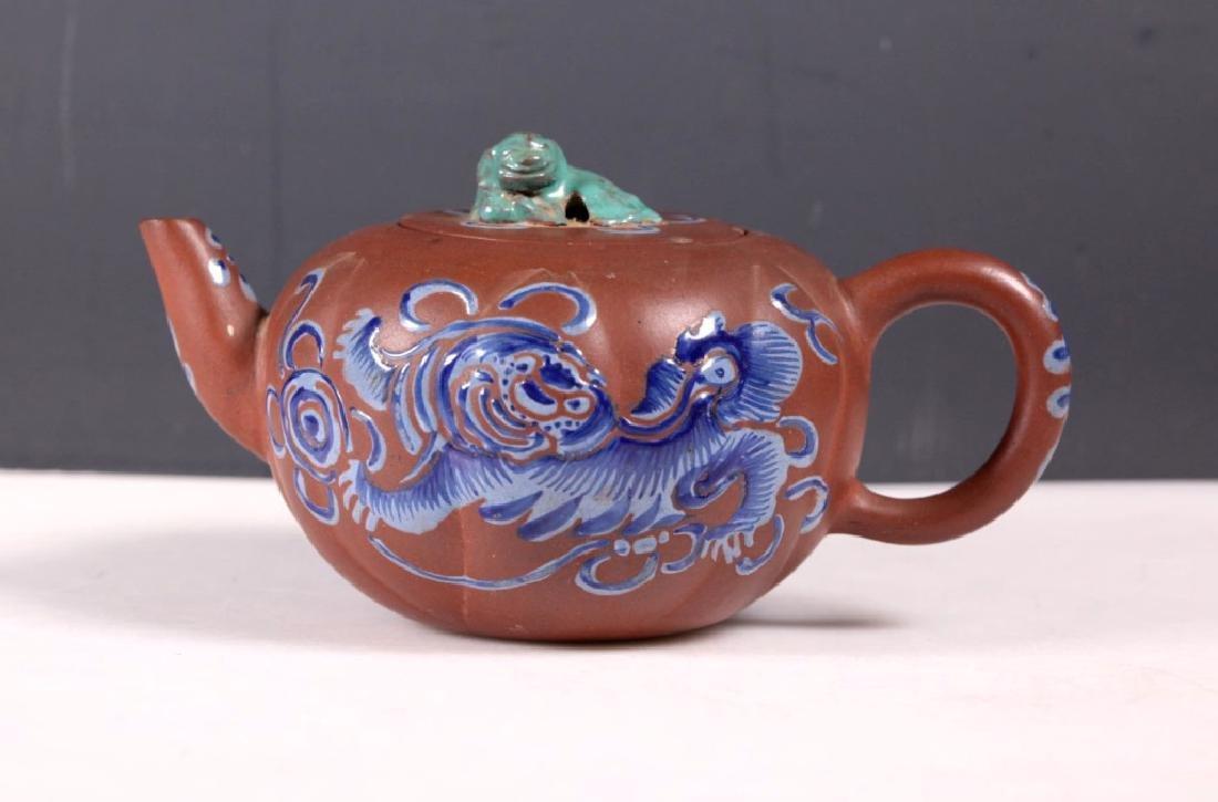 Good Chinese 18/19 C Enameled Yixing Teapot