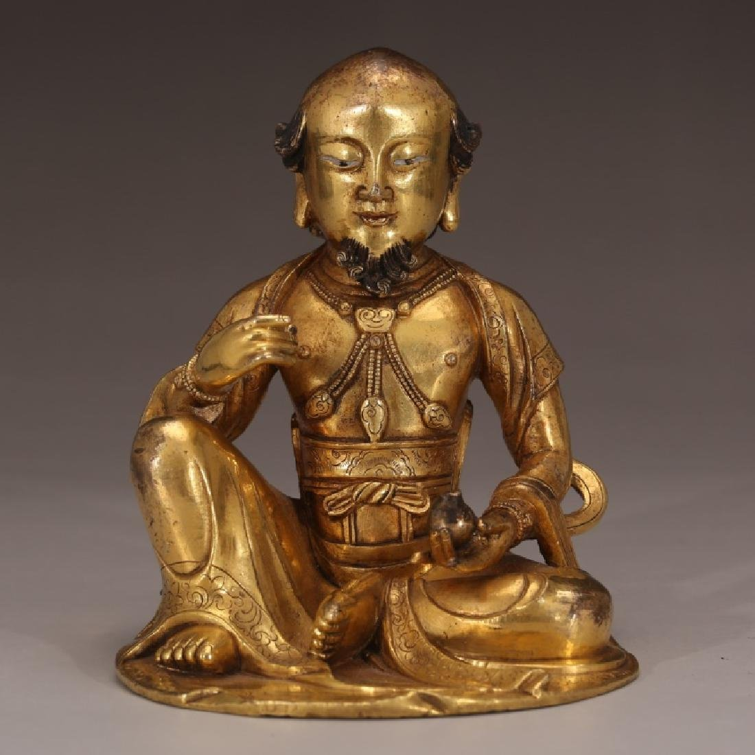 Tibetan Qing Gilt Bronze Seated Lama