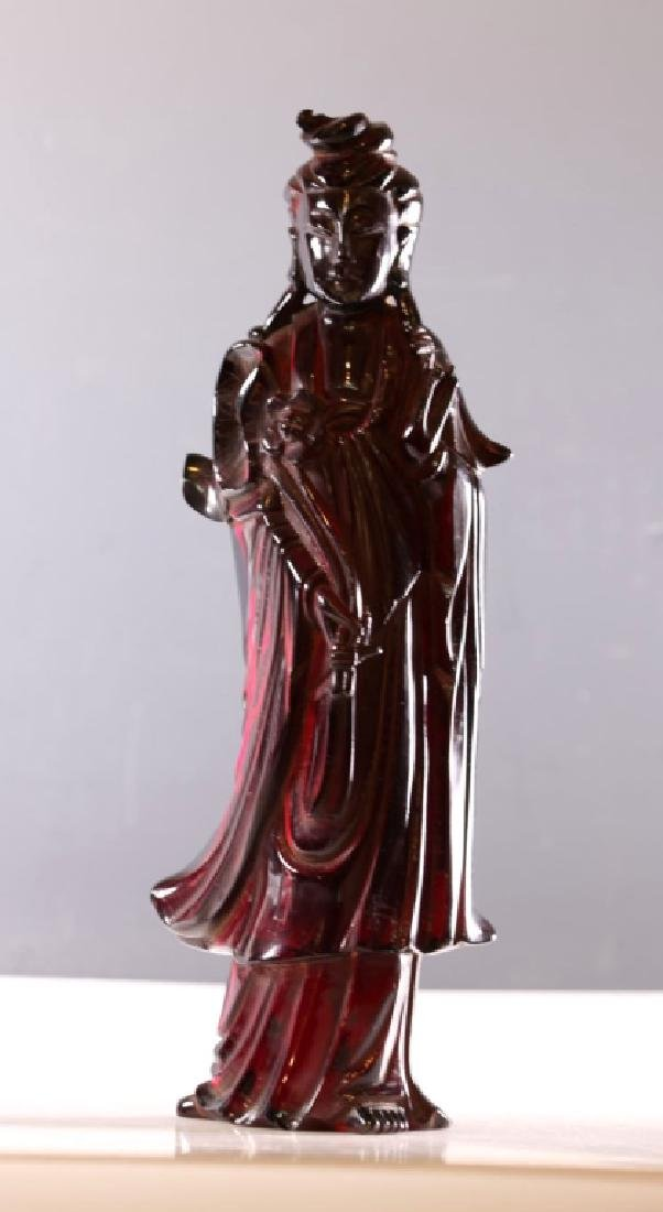 Chinese Carved Cherry Amber Standing Guanyin
