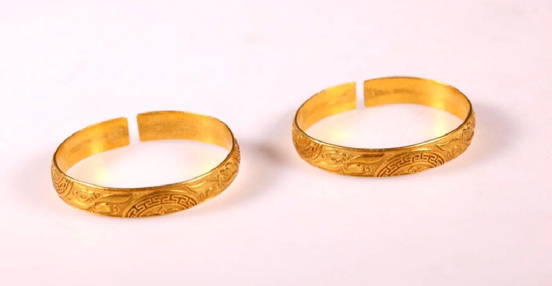 Fine Pair Antique Chinese Gold Bangles: 129.5G