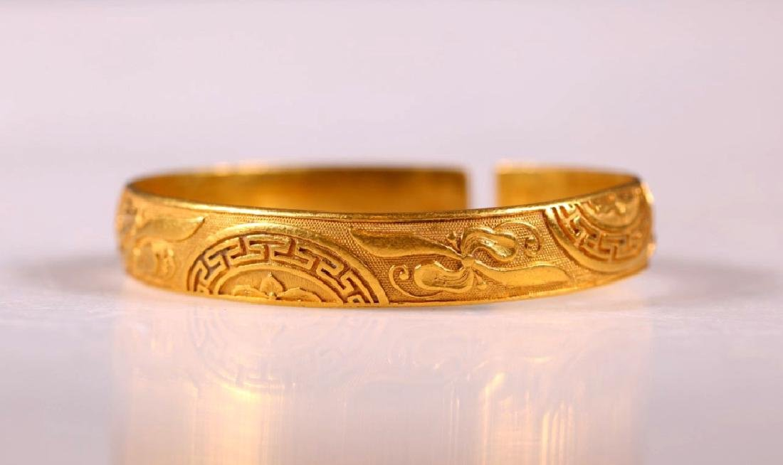Fine Pair Antique Chinese Gold Bangles: 129.5G - 3
