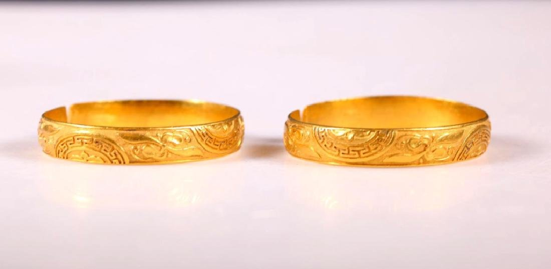 Fine Pair Antique Chinese Gold Bangles: 129.5G - 5