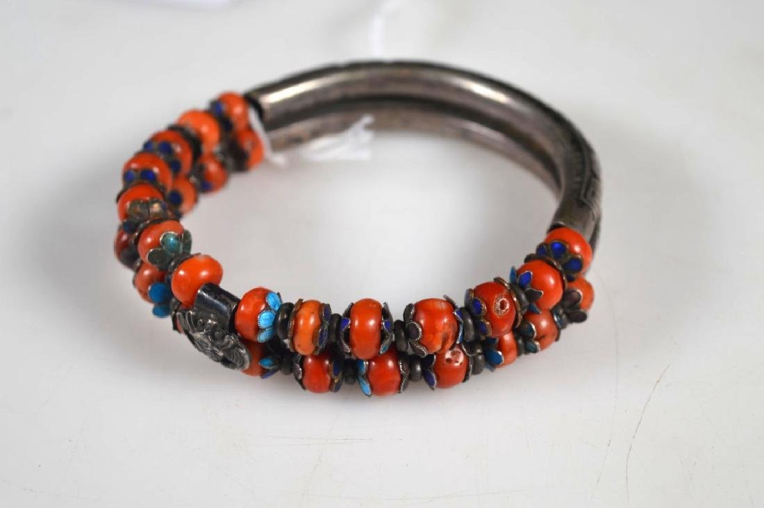 Chinese Enameled Silver & Coral Double Bangle