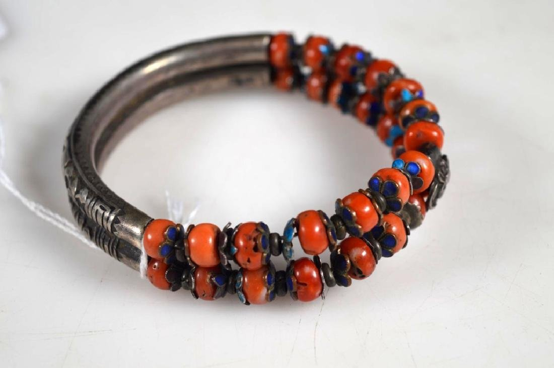 Chinese Enameled Silver & Coral Double Bangle - 2