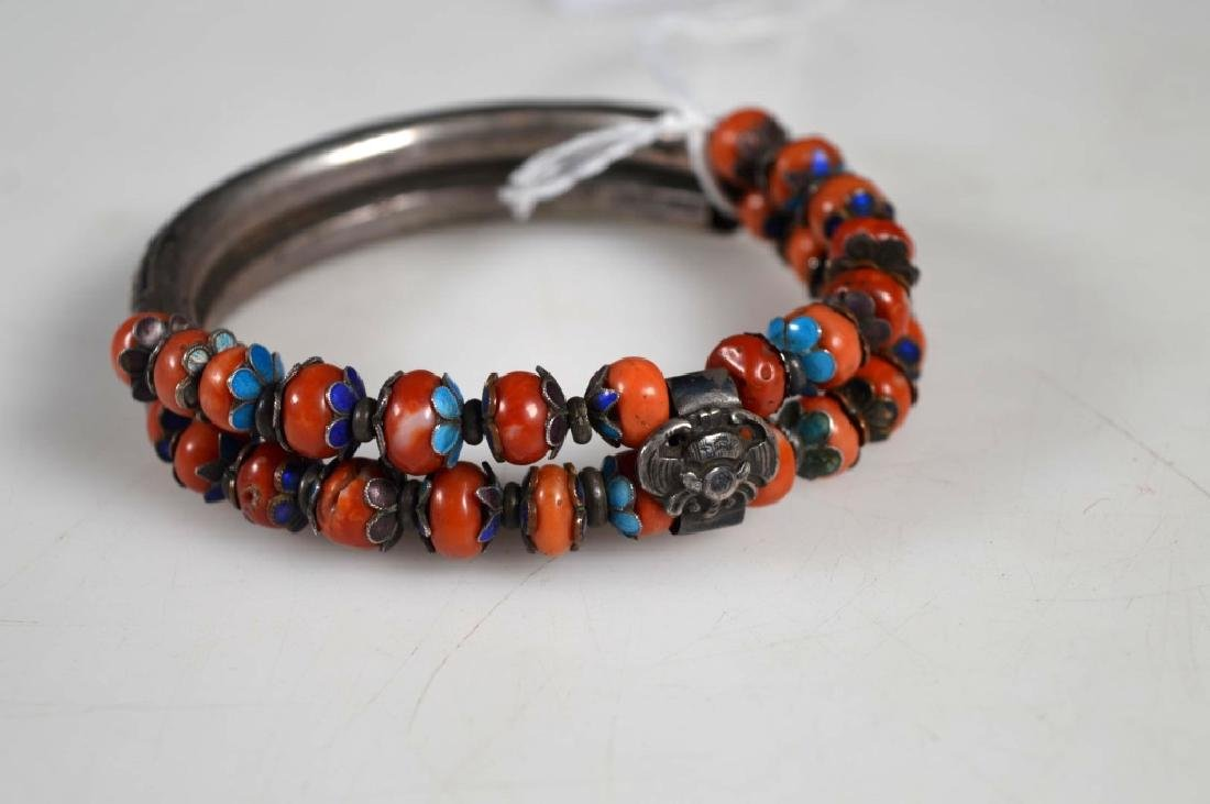 Chinese Enameled Silver & Coral Double Bangle - 3