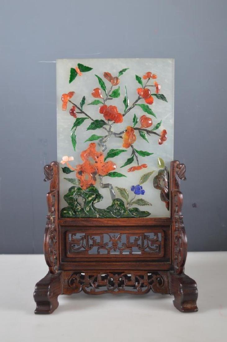 Antique Chinese Jadeite & Hardstone Table Screen