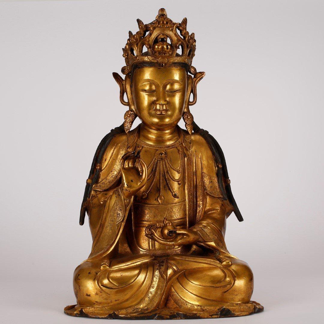 Chinese Ming Gilt Bronze Seated Guanyin Buddha