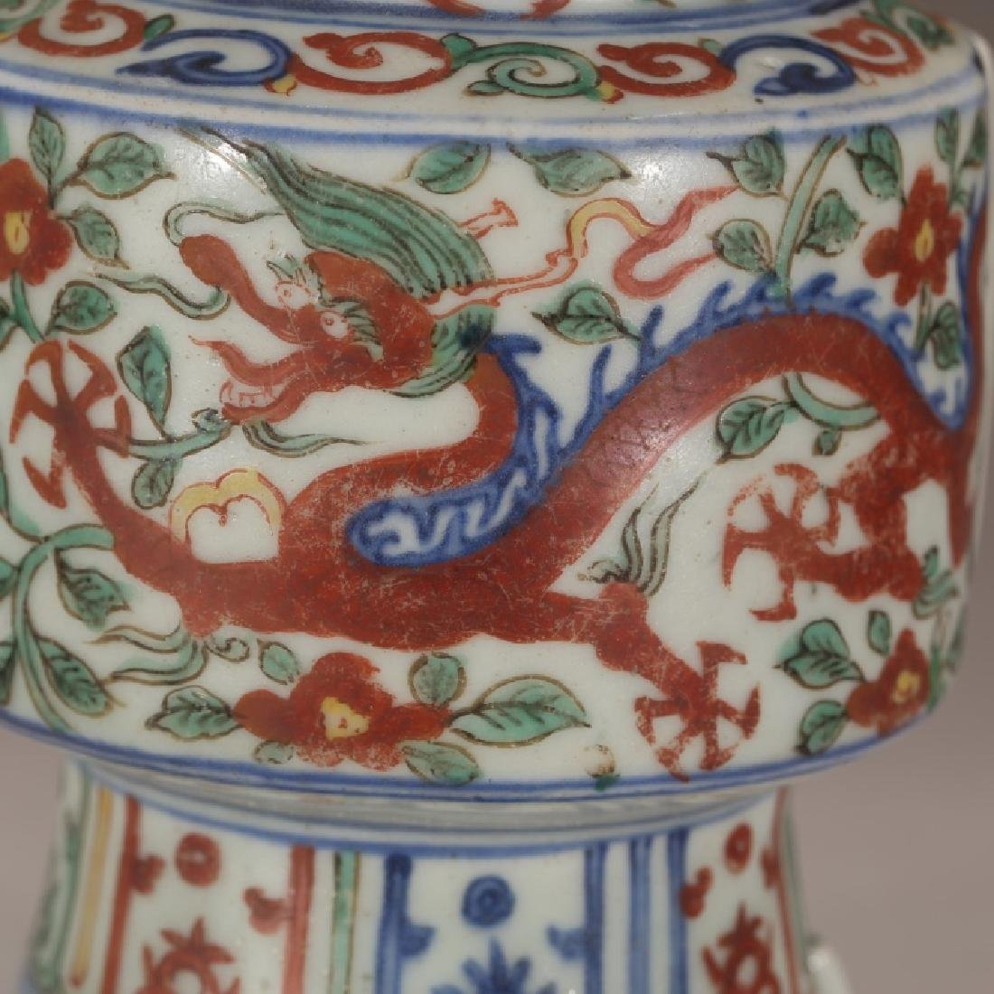 Chinese Qing Dynasty Archaic Wucai Porcelain Vase - 6
