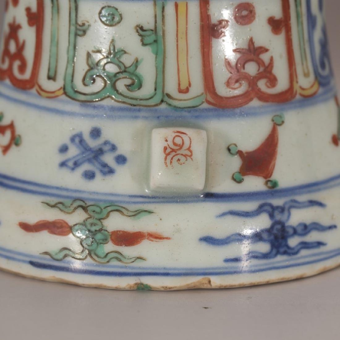 Chinese Qing Dynasty Archaic Wucai Porcelain Vase - 7