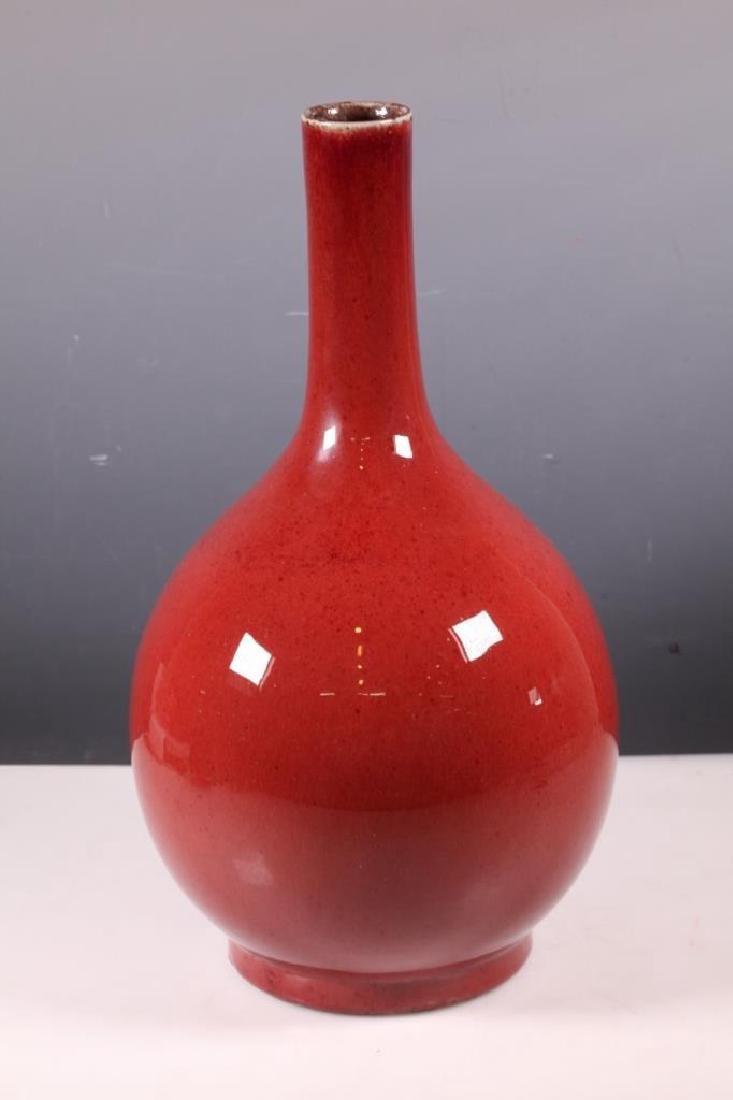 Qing Chinese Underglaze Red Porcelain Stem Vase - 2