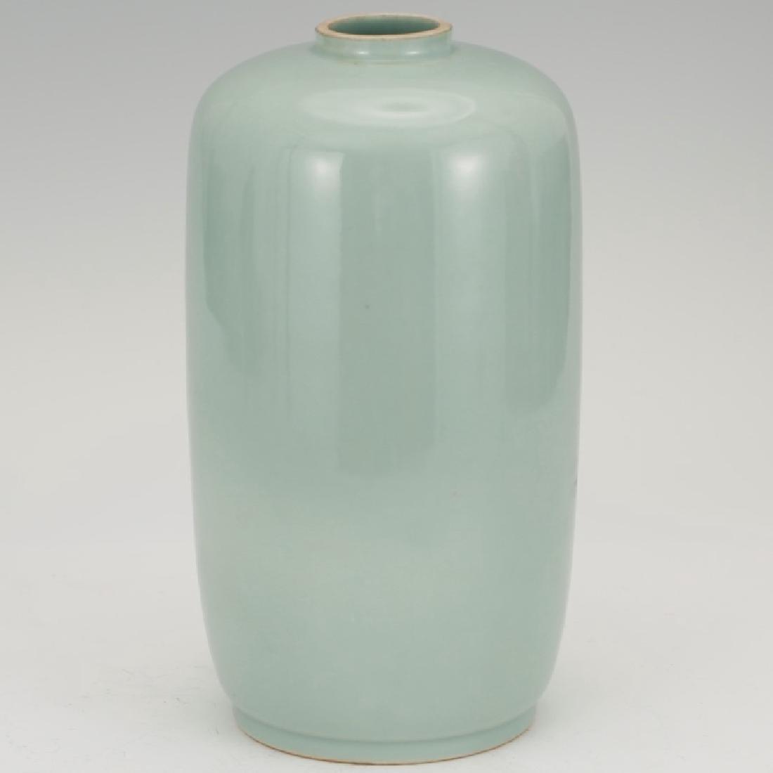 Fine Chinese Blue-Green Monochrome Vase - 2