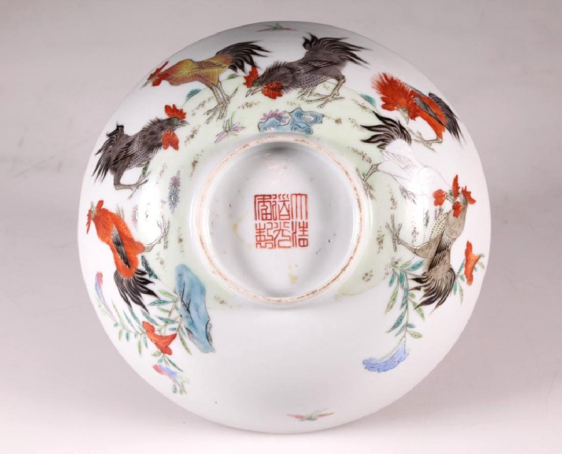 Chinese 19 C Famille Rose Porcelain Chicken Bowl