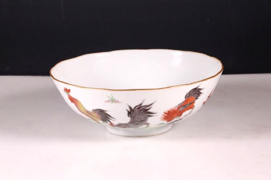 Chinese 19 C Famille Rose Porcelain Chicken Bowl - 2
