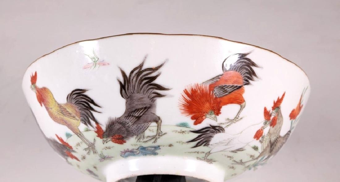 Chinese 19 C Famille Rose Porcelain Chicken Bowl - 3