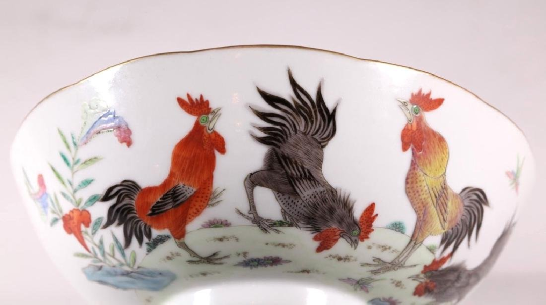 Chinese 19 C Famille Rose Porcelain Chicken Bowl - 8