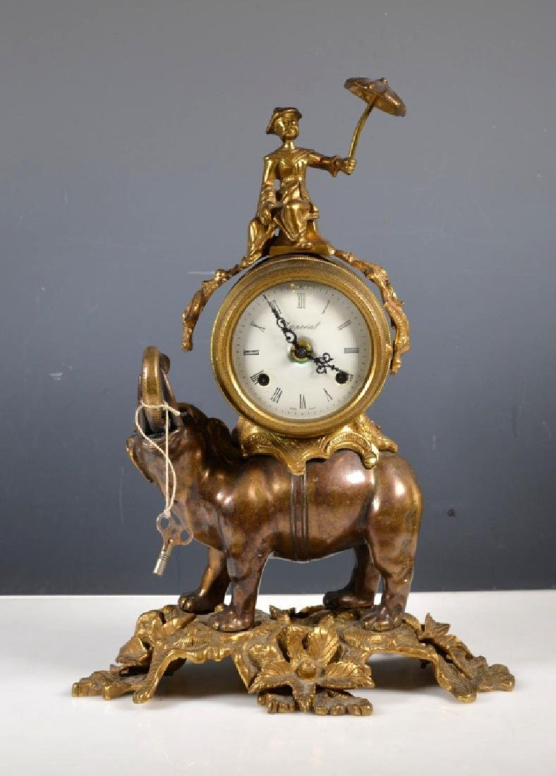 Cast Metal Elephant Chiming Clock