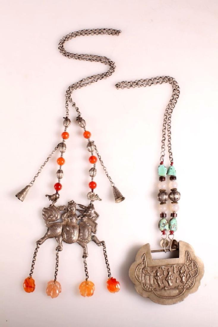 -2 Chinese Silver Pendants on Chains w Hardstones