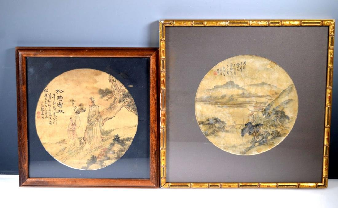 Two Chinese Round Fan Paintings on Silk