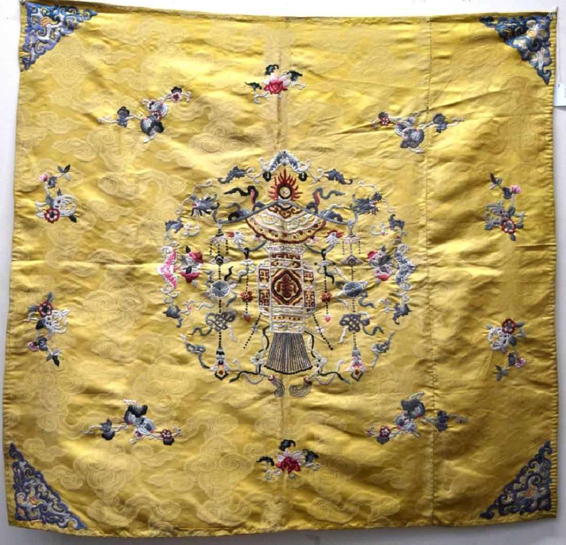 Chinese 18/19 C Imperial Yellow Silk Embroidery
