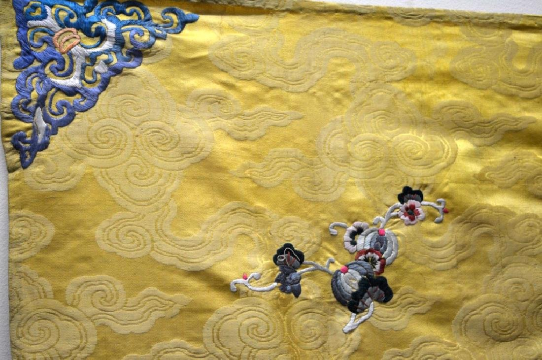 Chinese 18/19 C Imperial Yellow Silk Embroidery - 3