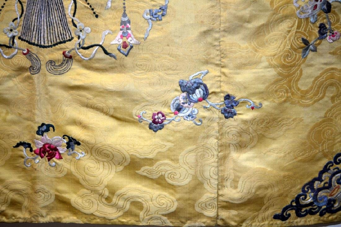 Chinese 18/19 C Imperial Yellow Silk Embroidery - 6