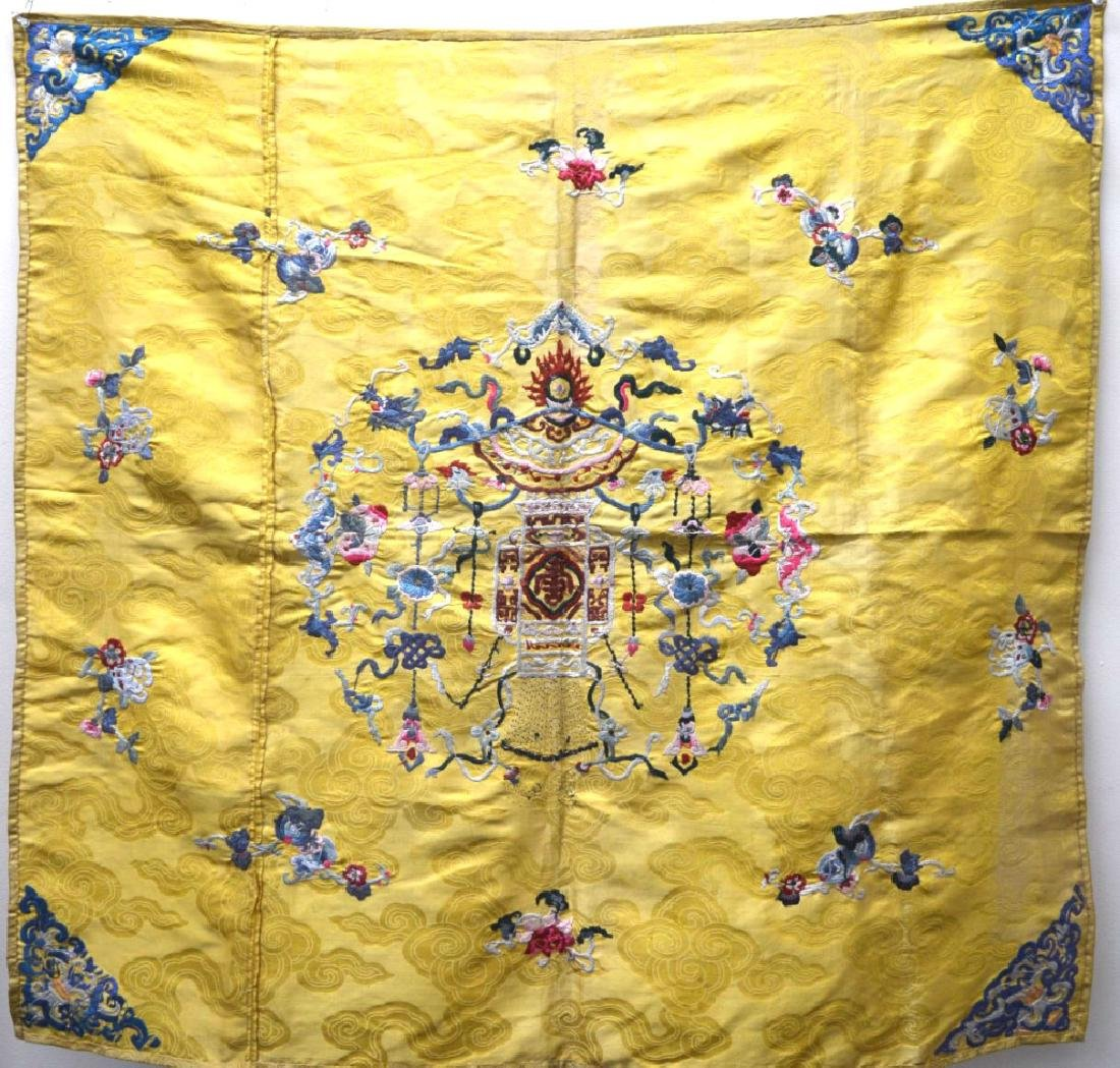 Chinese 18/19 C Imperial Yellow Silk Embroidery - 7
