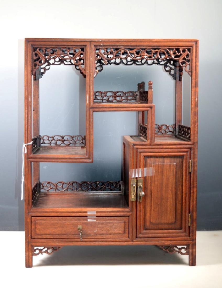 Chinese Hardwood Treasure Display Cabinet