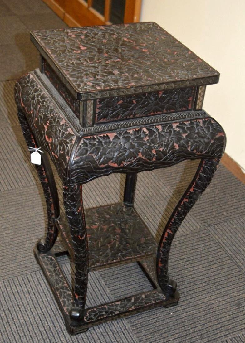 19 C Japanese Black & Red Lacquer Incense Table
