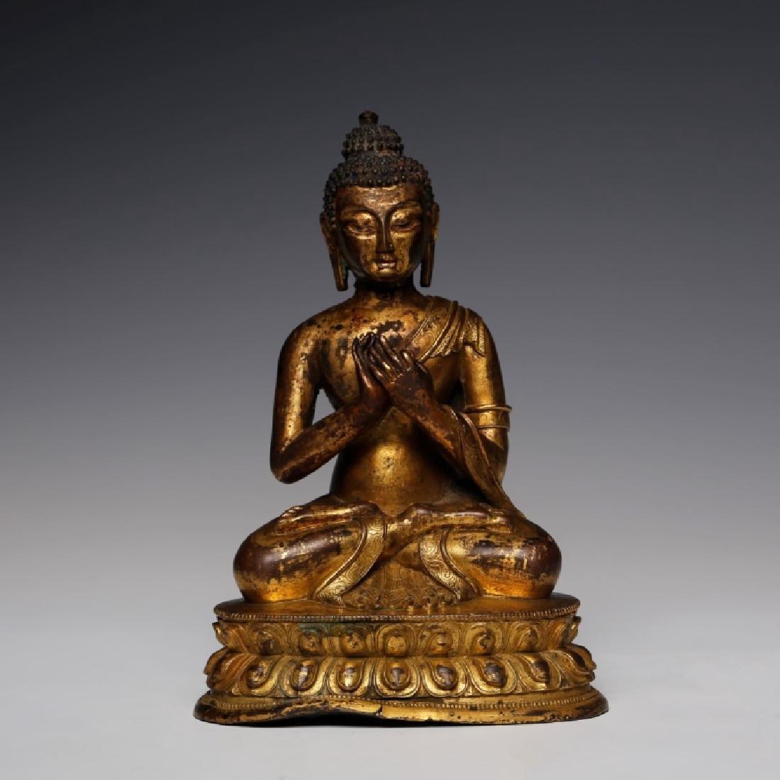 Tibetan 18/19 C Gilt Bronze Buddha; Lotus Throne