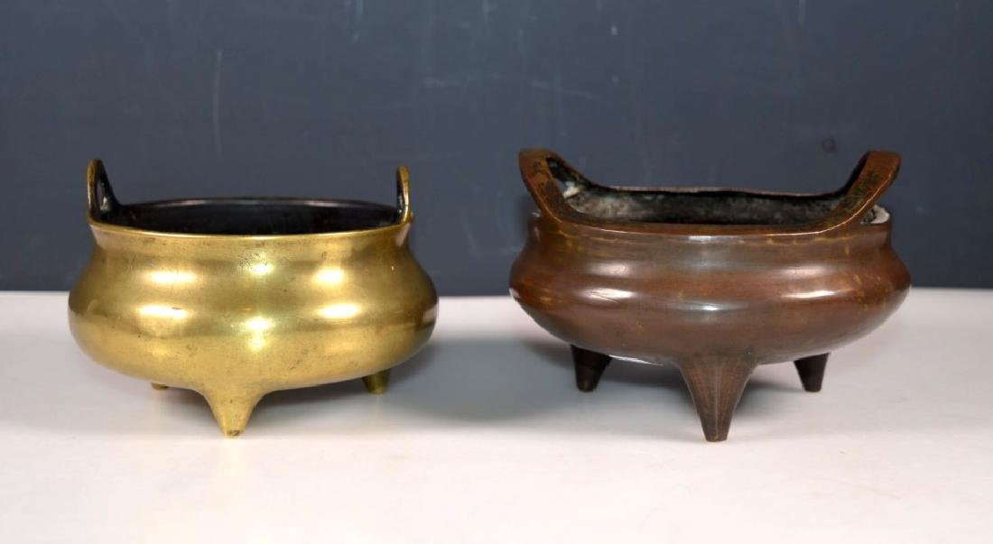 Two Chinese Bronze Censers; Xuande Marks