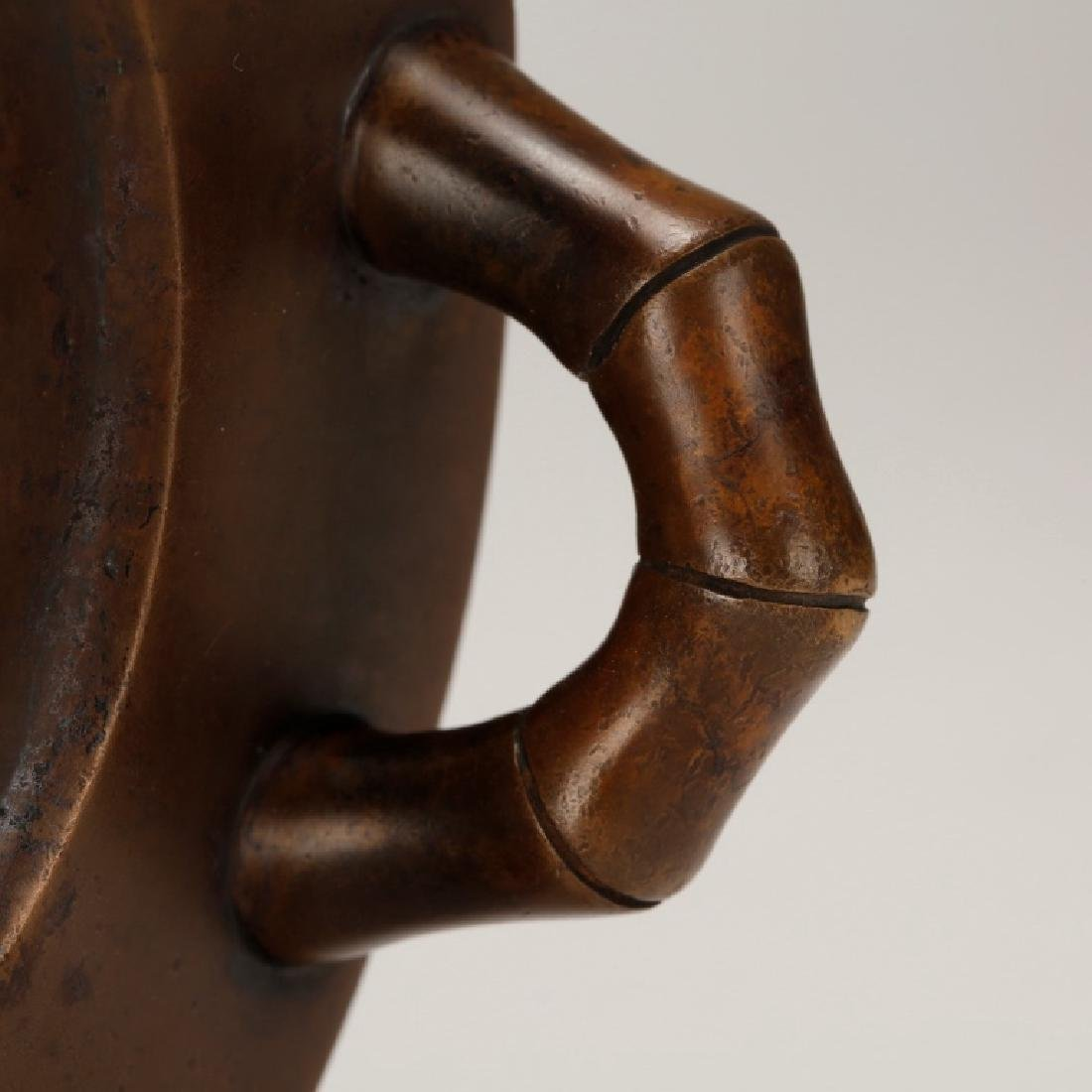 """Chinese Qing Patinated Bronze """"Bamboo"""" Censer - 6"""