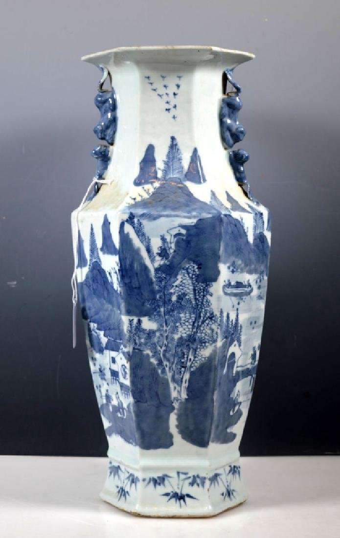 Chinese Qing Underglaze Blue Painted Hexagon Vase