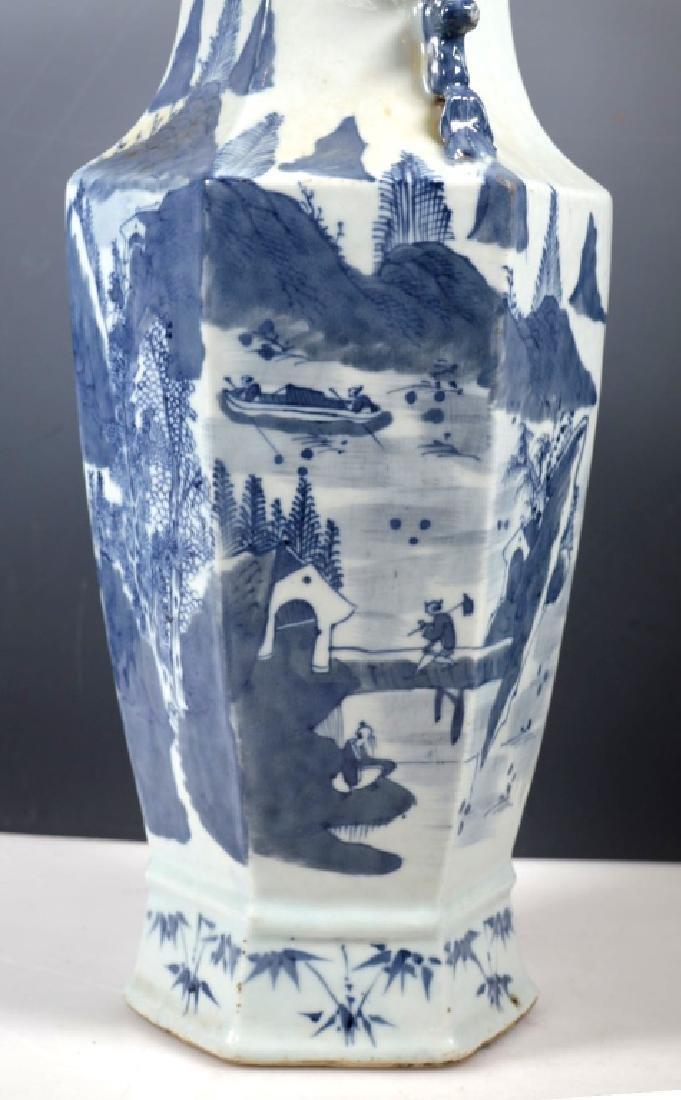 Chinese Qing Underglaze Blue Painted Hexagon Vase - 2