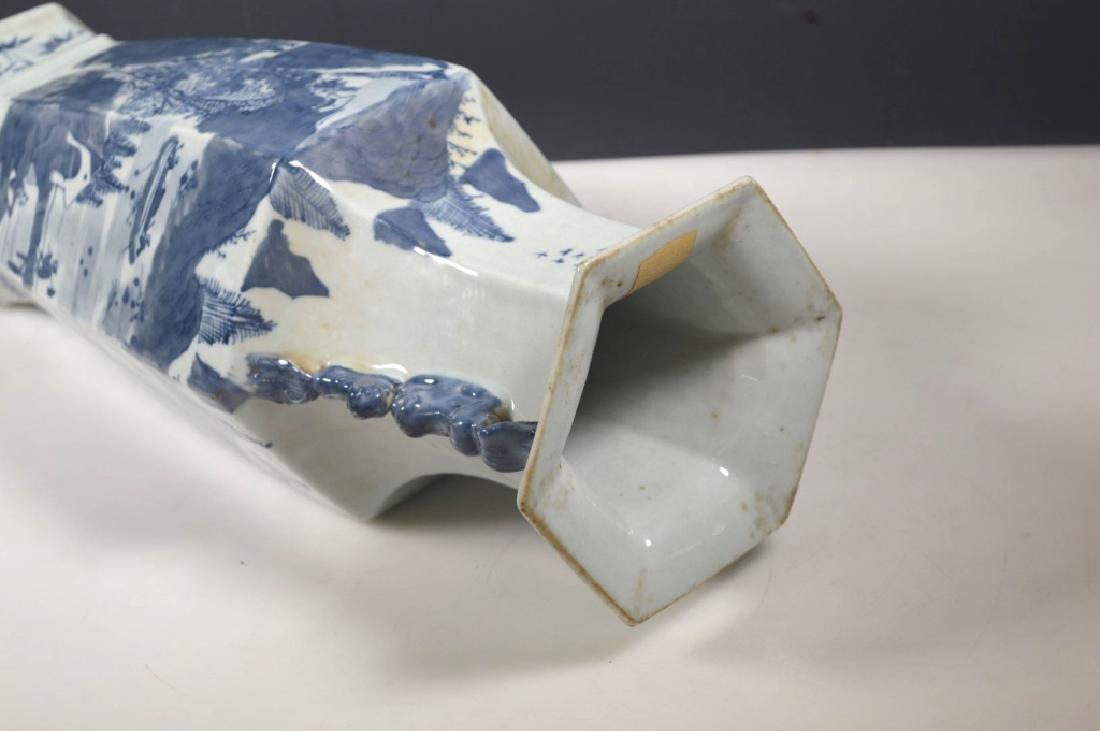 Chinese Qing Underglaze Blue Painted Hexagon Vase - 5