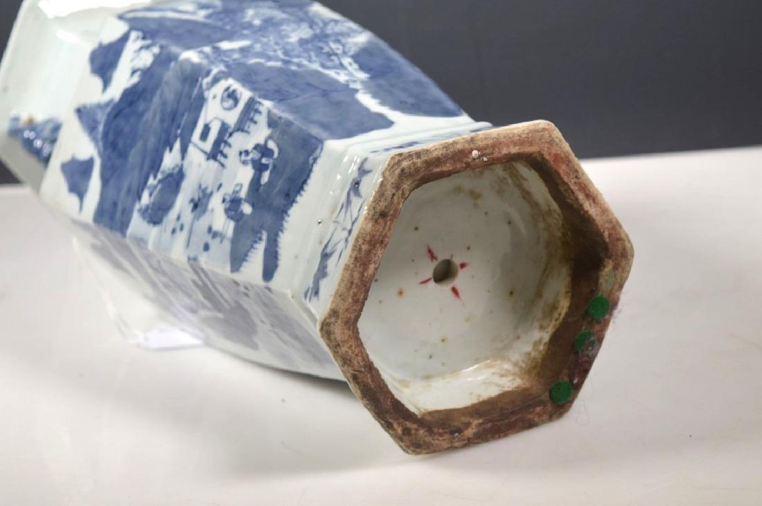 Chinese Qing Underglaze Blue Painted Hexagon Vase - 6
