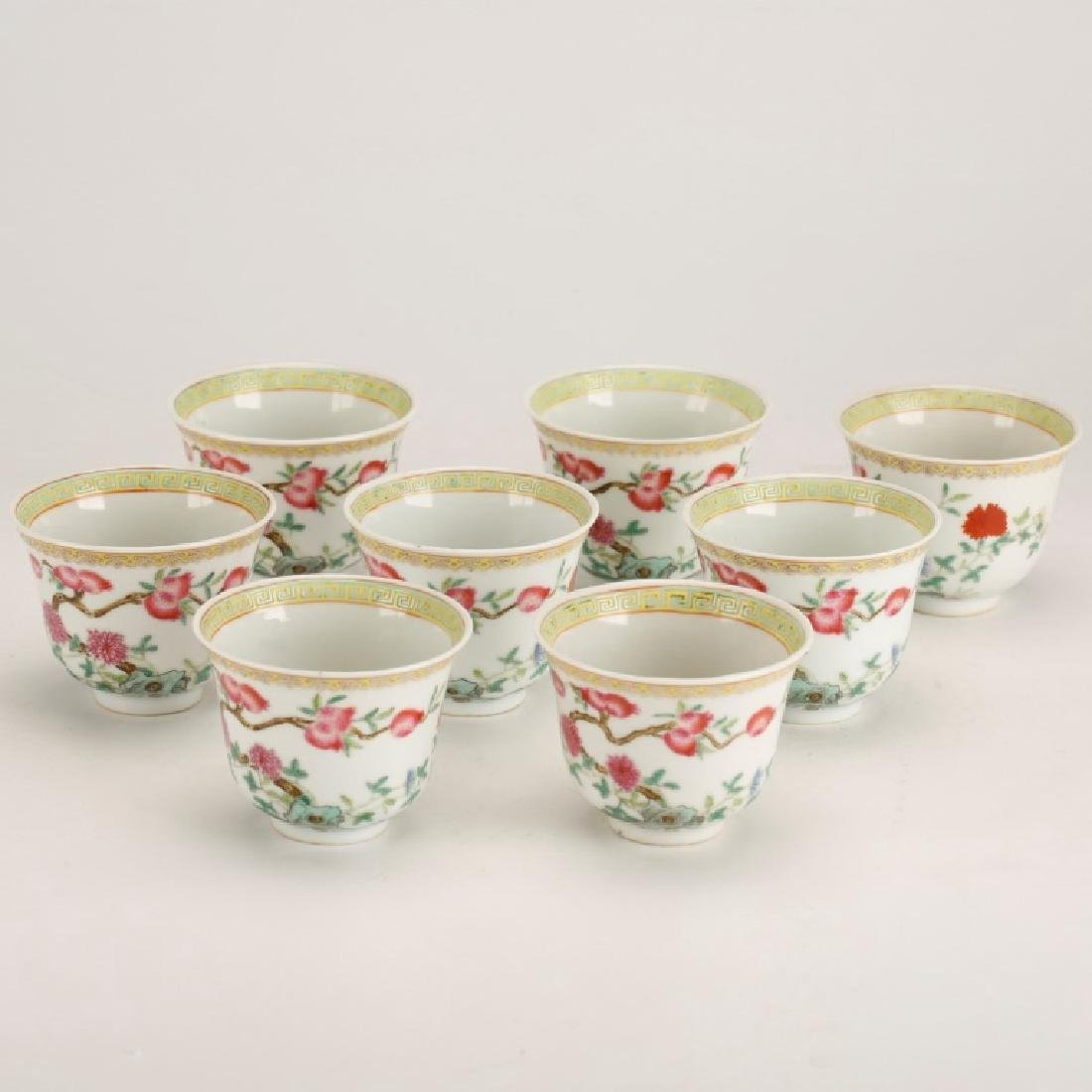 Eight Chinese Famille Rose Porcelain Wine Cups