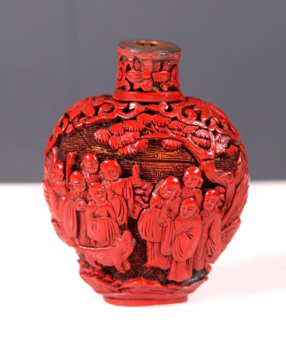 Antique Chinese Carved Red Cinnabar Lacquer Snuff