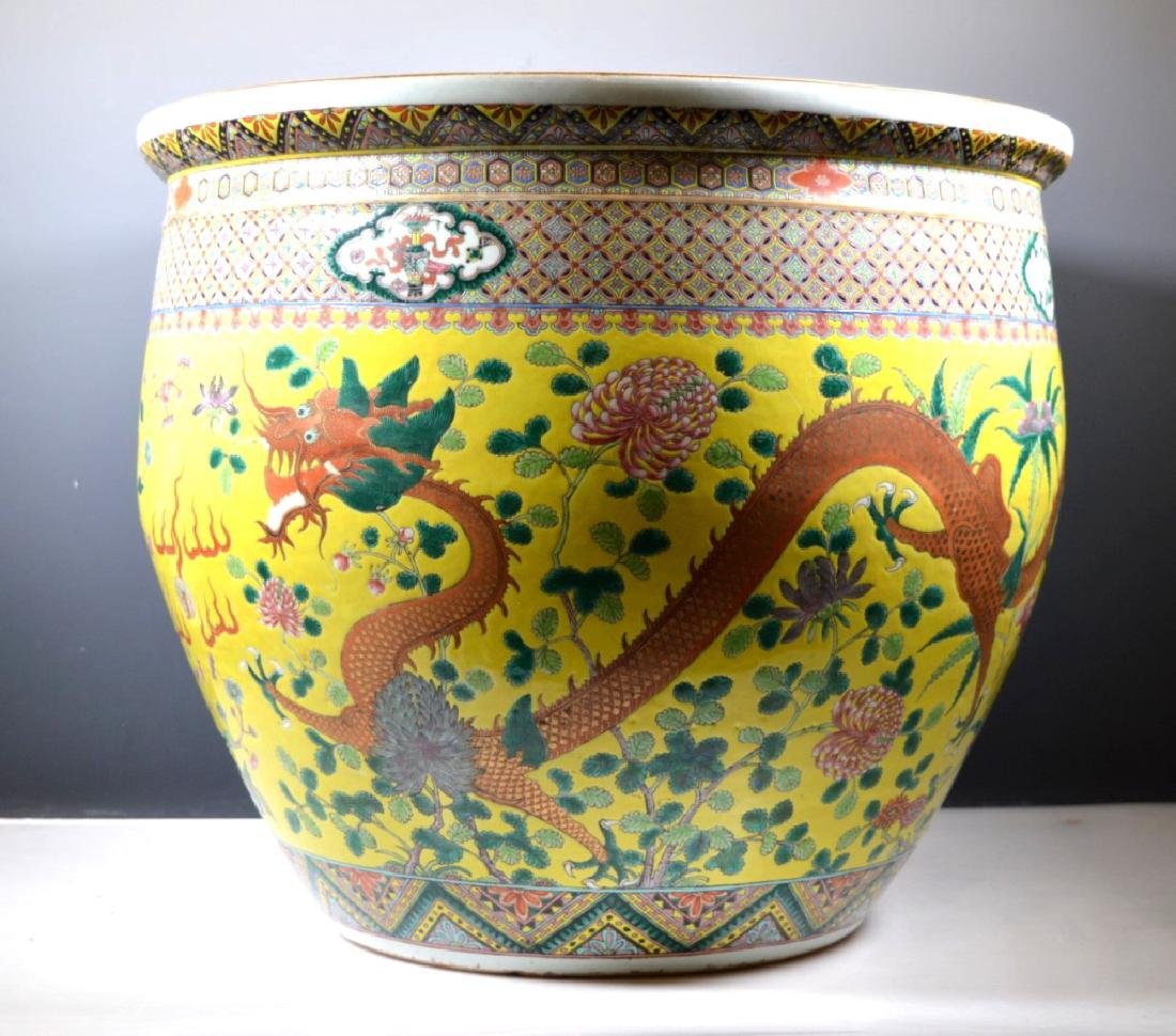 Chinese Late Qing Enameled Porcelain Fish Bowl