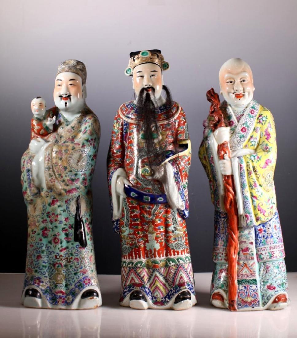 "Chinese Set Porcelain Figures of ""Fu, Lu, & Shou"""