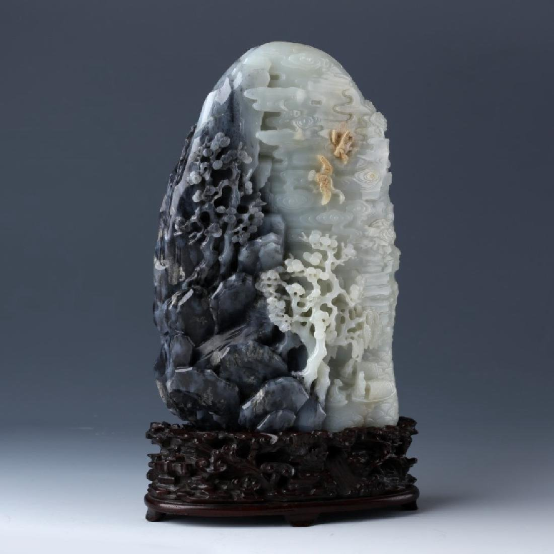 Chinese Carved White to Gray & Black Jade Mountain