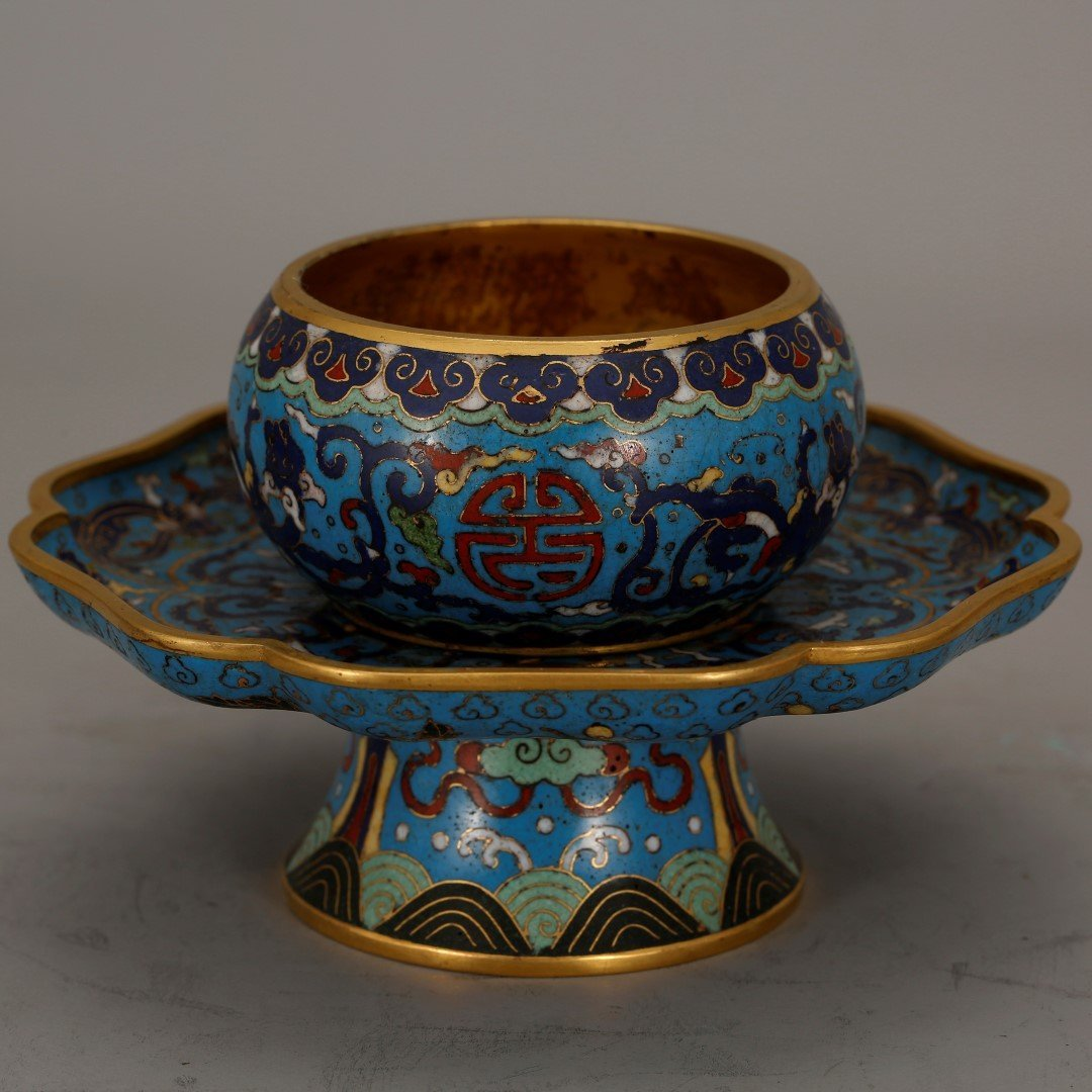Qing Chinese Gilt Bronze & Cloisonne Cup
