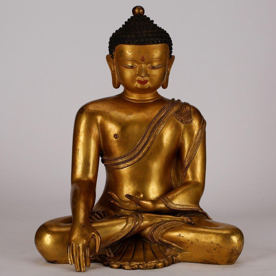 Tibetan or Nepal Ming Gilt Bronze Seated Buddha