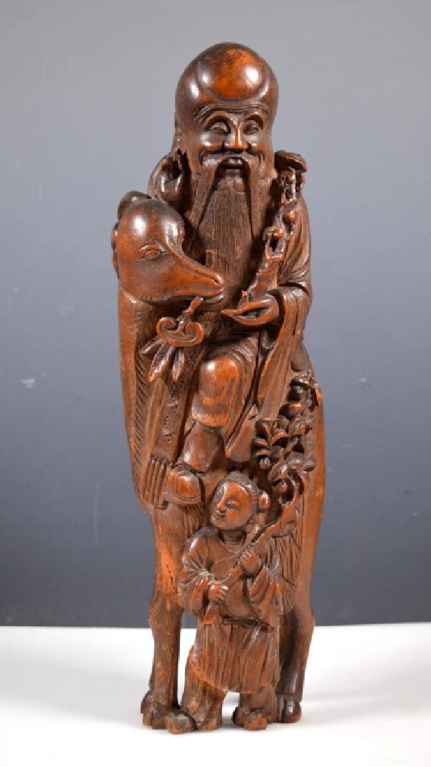 Large 19 C Chinese Shoulao Bamboo Carving