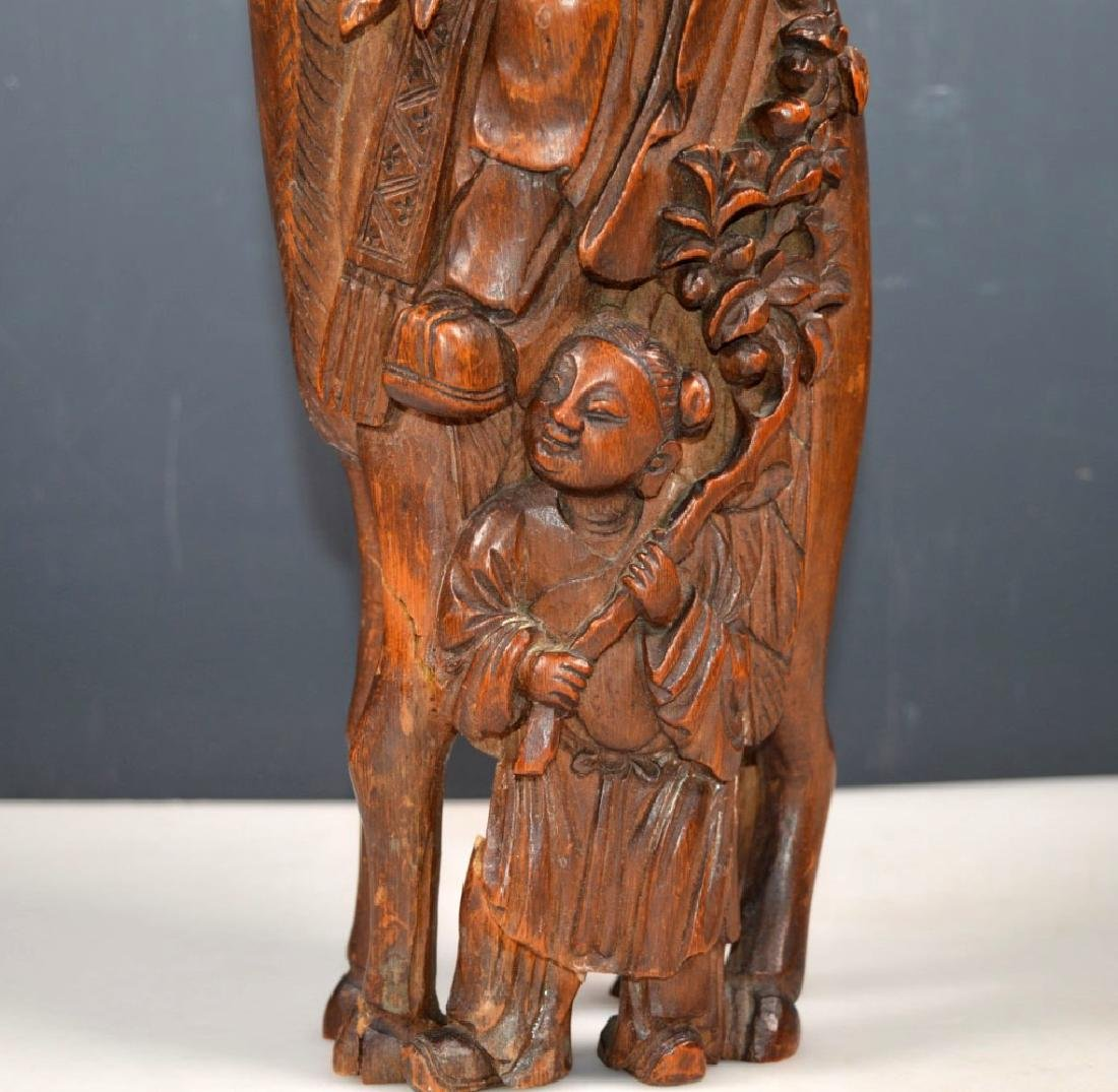 Large 19 C Chinese Shoulao Bamboo Carving - 3